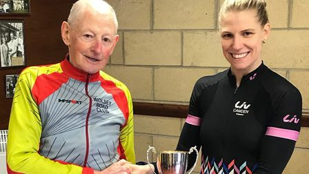 Mick Pepper presents the Pat Pepper Trophy to Amy Pritchard. Picture: STEVE CAVE