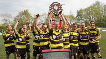 Leiston Orient hold aloft the Suffolk FA Sunday Shield after their 3-0 victory over Rushmere Lions i