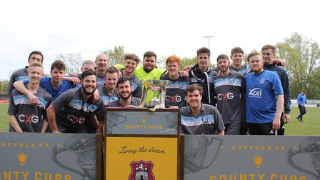 Haverhill Borough celebrate winning the Suffolk FA Sunday Trophy following their 5-4 victory after e