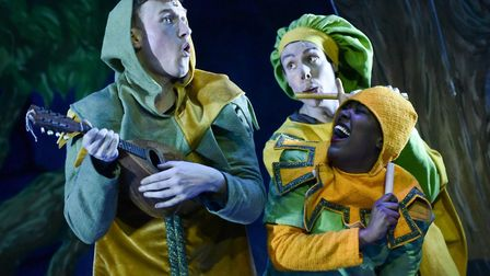 John Brannoch, Matthew Pennington & Gleanne Purcell-Brown in Spamalot at the Colchester Mercury.. Pi