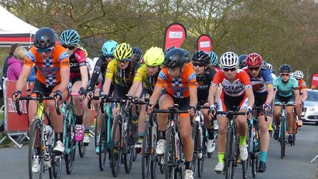 The women's field in the Stour Valley road race