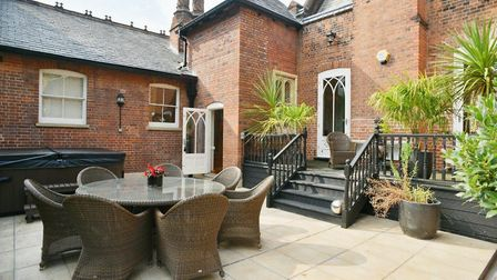The roof garden and hot tub at Norman Tower House in Bury St Edmunds. Picture: BEDFORDS