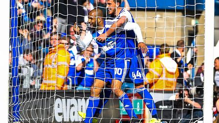 David McGoldrick and Emyr Huws celebrate during Ipswich Town's 3-1 home win over Newcastle United. P