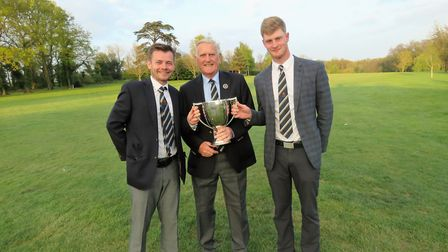 Winners again: From left: Chris Bartrum, SGU president Colin Firmin and James Biggs.