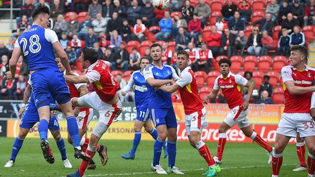 Kieffer Moore's second half header is cleared off the goal-line at Rotherham. Photo: PAGEPIX