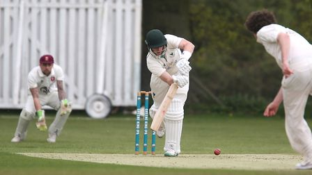 Jack Rowett in action early on in Woolpit's innings against Witham. Woolpit made a winning start to