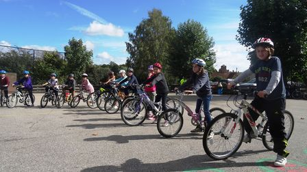 Pupils at Sir Robert Hitcham's Primary School in Framlingham, pictured here during a cycling trainin
