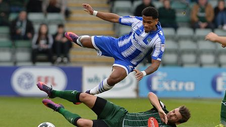 Richard Brindley, being felled by Plymouth's Graham Carey during the defeat at Home Park last Octobe