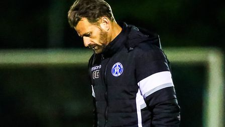 Leiston manager Glenn Driver has his head down after his side dropped two points in the midweek draw