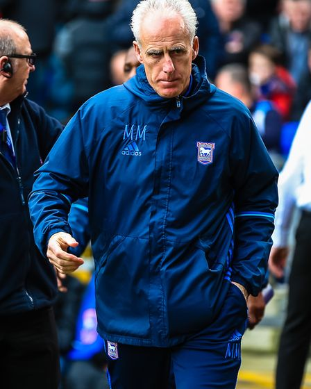 Town manager Mick McCarthy walks on ahead of the Ipswich Town v Reading (Sky Bet Championship) match