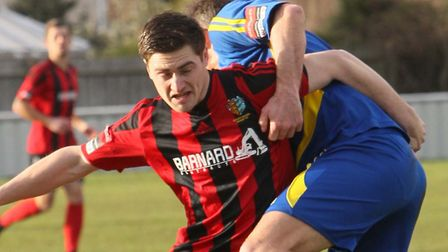Billy Hunt, who executed a superb 35-yard lob for Brightlingsea Regent's opening goal in tonight's w