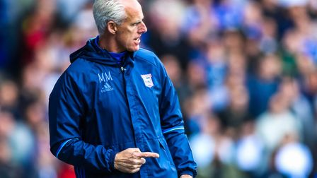 Town manager Mick McCarthy on the touchline during the Ipswich Town v Newcastle United (Sky Bet Cham