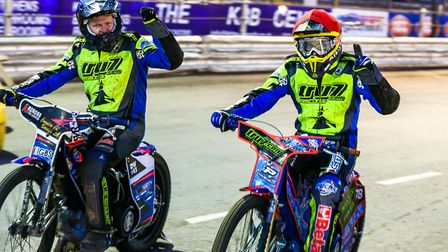 Cameron Heeps (left) and Nico Covatti celebrate their 5-1 in heat five of the Ipswich v Peterborough