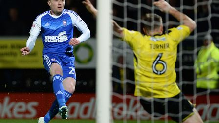Freddie Sears doubles Ipswich Town's lead at Burton on Good Friday. Photo: PAGEPIX