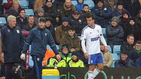 Steven Taylor, pictured limping off in the first half at Aston Villa, has had injury problems since