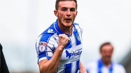 Brennan Dickenson celebrates scoring his 12th goal of the season against Doncaster on Good Friday. H