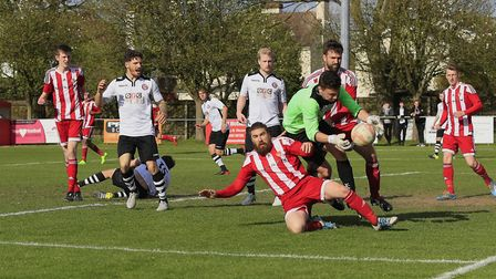 Haverhill's James Philp under pressure from Craig Jennings and Rhys Barber