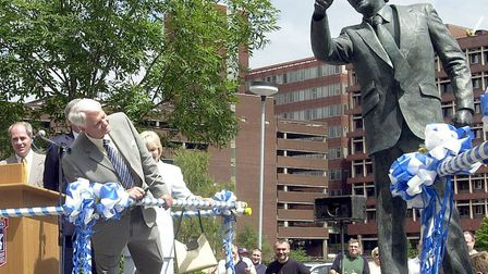 Sir Bobby Robson takes a look at his statue outside Portman Road. The popular manager's career and l