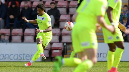 Richard Brindley gives Colchester the lead at Morecambe with this first half free-kick. He has been