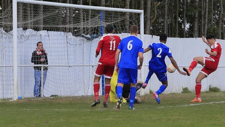 Nick Ingram finishes from close range to double the score for Fellixstowe