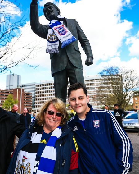 Ipswich fans Sue Cook and her grandson Luke Payne with the Sir Bobby Robson statue. Picture: STEVE W