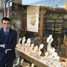 Jeremy Fournel manager at The Amber Shop in Southwold shortly after the jewellery was stolen.