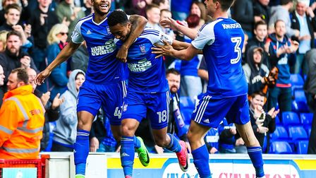 Grant Ward, middle, celebrates scoring his sixth goal of the season against Birmingham City, and adm