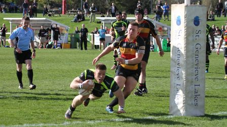 Sam Sterling dives over for Bury's first try in a thrilling 29-29 draw in the previous home match ag
