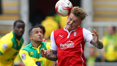 Rotherham's Danny Ward (red) has scored 11 goals for rock-bottom Rotherham this season. Photo: Focus