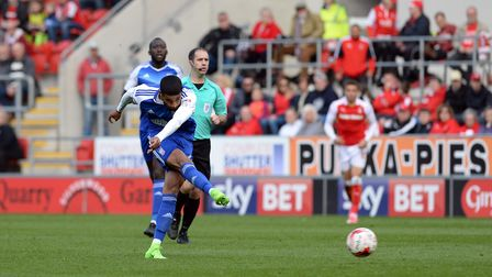 Dominic Samuel has a early second half chance at Rotherham