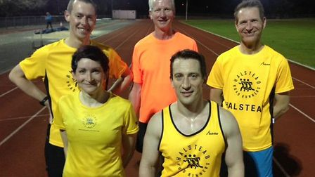 Members of Halstead Rosd Runners competing in London this weekend. Back row (from left): Steve May,