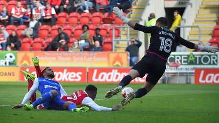 Dominic Samuel is just inches from scoring for Ipswich against Rotherham