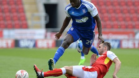 Josh Emmanuel gave away a first half penalty at Rotherham with a rash challenge. Photo: PAGEPIX