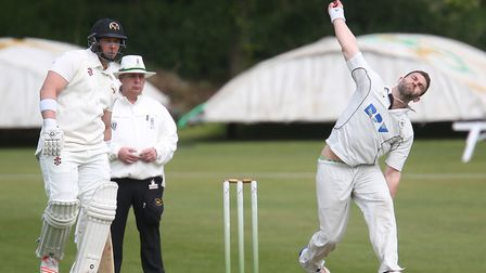 Kyle Morrison, who opened the Mildenhall bowling with Tino Best, in action against Vauxhall Mallards