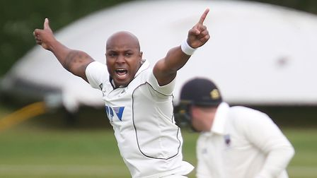 Tino Best celebrates a wicket in the victory over Vauxhall Mallards on the opening day of the EAPL s