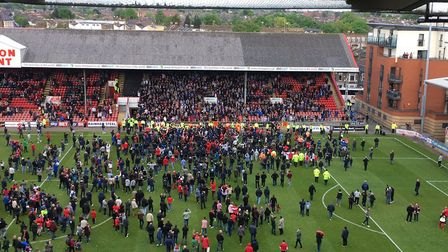 The pitch invasion at Leyton Orient this afternoon, that delayed the finish of the match by two hour