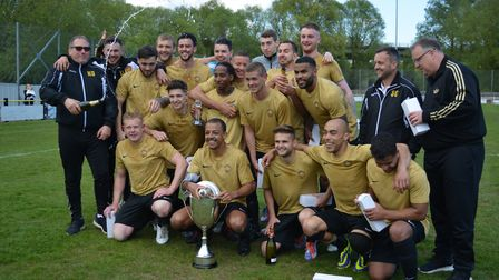 Stowmarket Town celebrate winning the Thurlow Nunn First Division title. Picture: BEN POOLEY