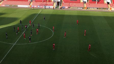 The unusual sight of Leyton Orient and Colchester United players merely going through the motions by