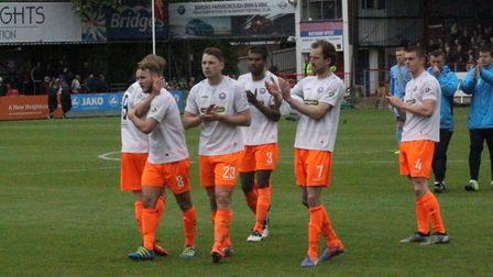 Braintree players react after their relegation