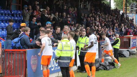Braintree players commiserate with fans after their relegation