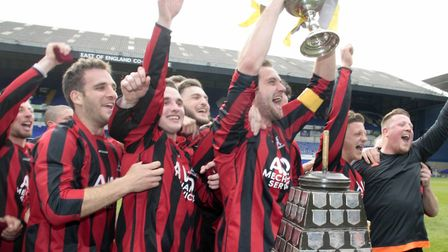 Achilles players lift the Suffolk Senior Cup