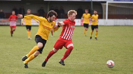 Mildenhall's Dan Brown and Newmarket's Mark Webster in action at Diss