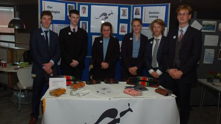 The Kagaroo Pouches team from Woodbridge School, finalists in the Suffolk Young Enteprise competitio