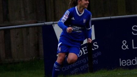 Town's Sophie Welton celebrates her strike in the 5-1 win over Norwich. Pictures: ROSS HALLS/IPSWICH