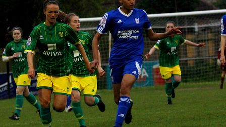 Tammi Blackwood on the ball for Ipswich Ladies in their 5-1 win over Norwich