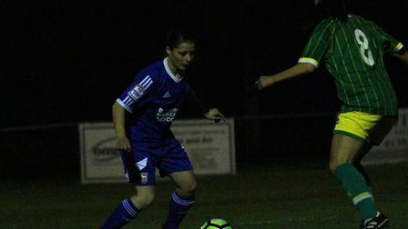 Ipswich Town's Zoe Cossey on the ball in the big win over Norwich