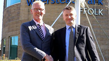 Nick Denny, joint chief executive at the East of England Co-op, with Guy Longhurst, senior partner a