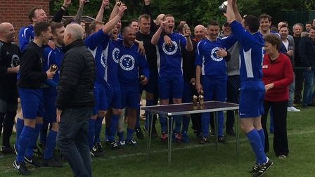 AFC YourShirts win the Club Colours Cup after a penalty shoot-out victory over Cockfield United, at