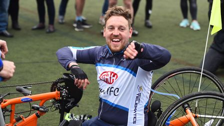 Double amputee crash victim Shaun Whiter completes his 150-mile Tour of Suffolk. Picture: GREGG BROW