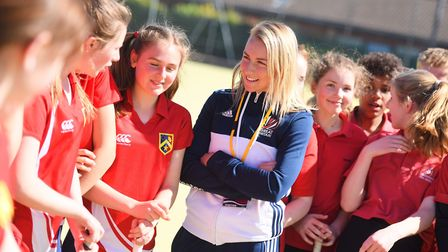 England's Hannah Martin returned to Ipswich last week to support a local schools tournament at Cople